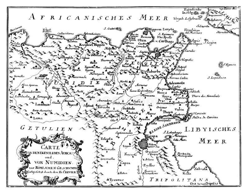 葡萄酒传染媒介图画或刻记非洲北部古色古香的地图从罗马帝国时间的 皇族释放例证