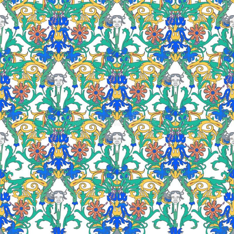 葡萄酒传染媒介花卉边界 无缝的样式,维多利亚女王时代的样式 在黑暗的背景的装饰花 减速火箭的鞋带 皇族释放例证