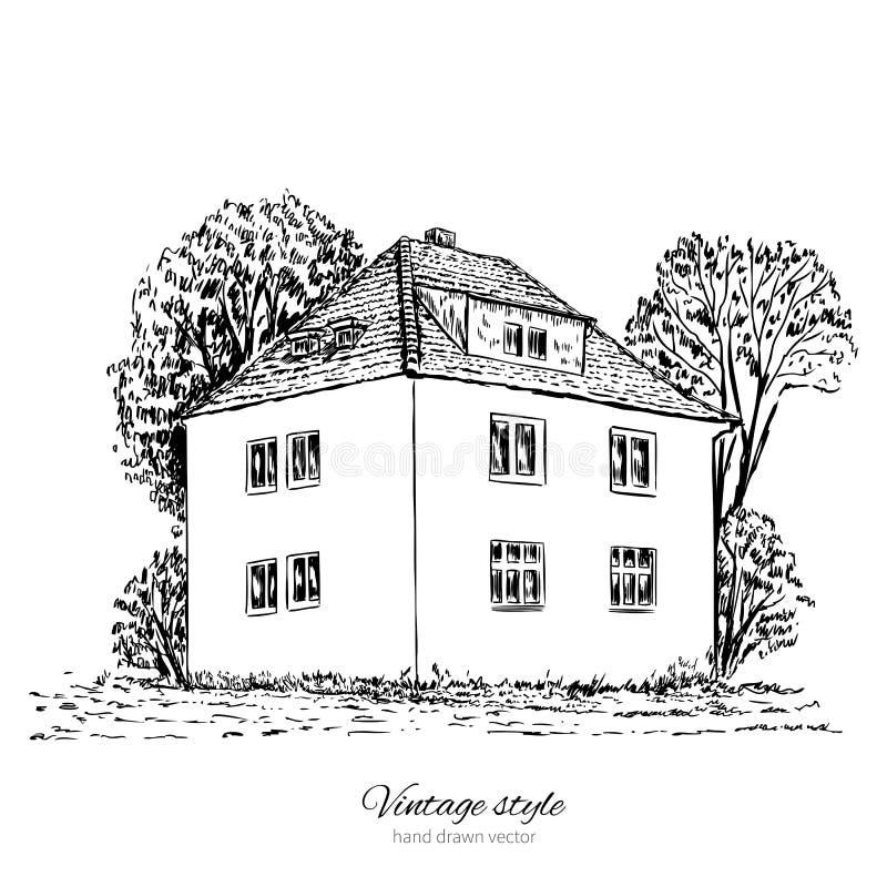 葡萄酒传染媒介剪影瓦片老欧洲房子,豪宅,历史大厦概略线 库存例证