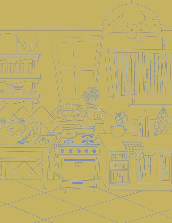 葡萄酒传染媒介在紫罗兰色和米黄的厨房例证 库存照片