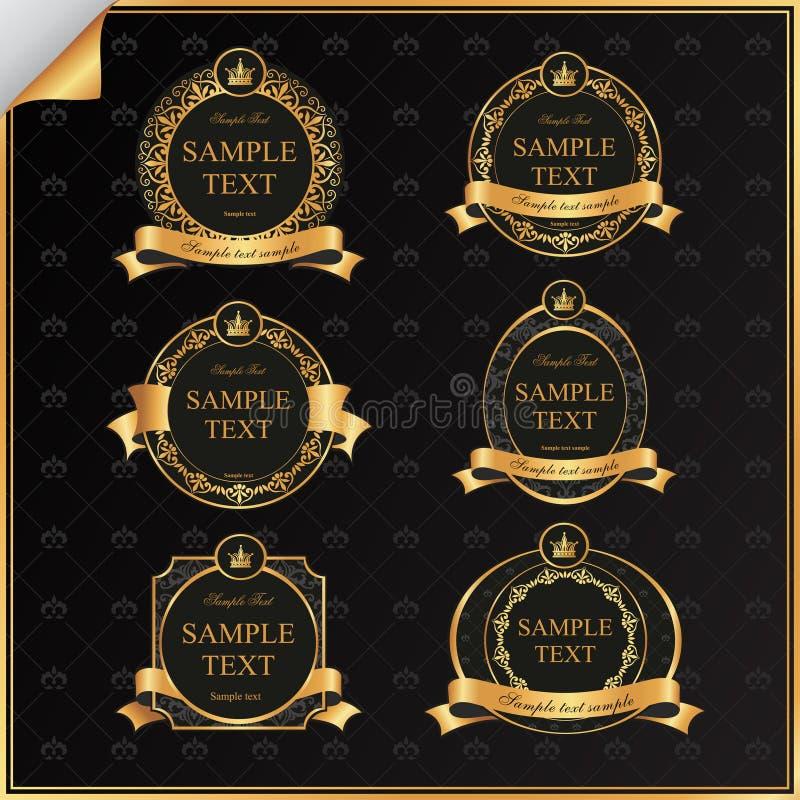 葡萄酒传染媒介套与金子的黑框架标签   库存例证