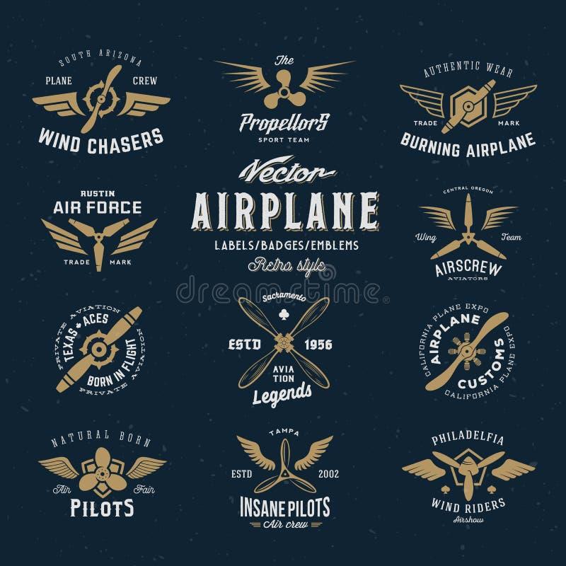 葡萄酒传染媒介飞机与减速火箭的标号组 向量例证
