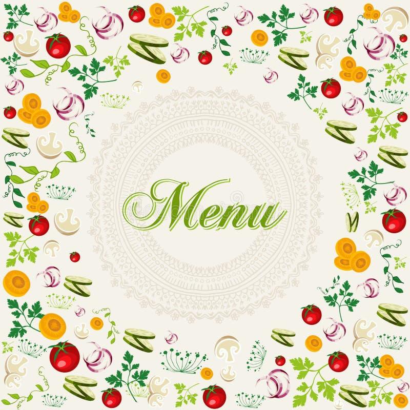 葡萄酒健康食物菜单背景 库存例证