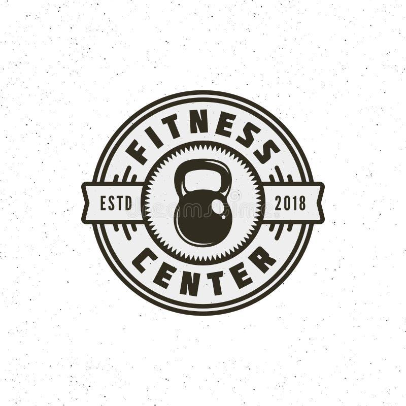 葡萄酒健身健身房商标 减速火箭的被称呼的体育象征 也corel凹道例证向量 皇族释放例证