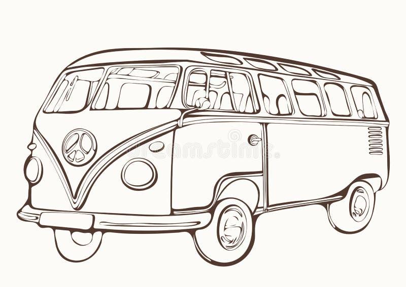 葡萄酒公共汽车,减速火箭的汽车,被绘的彩图,手图画,单色 向量例证