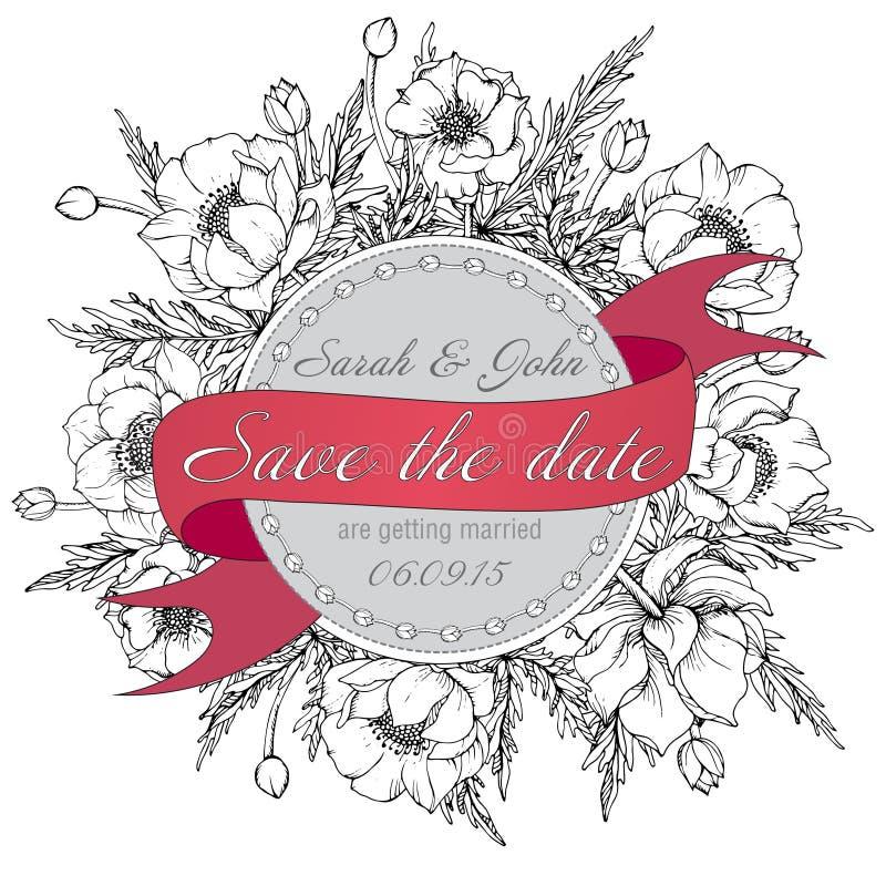 葡萄酒典雅的婚礼邀请或卡片救球与gr的日期 库存例证