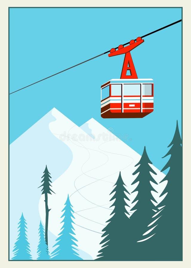 葡萄酒冬天动画片背景,海报 红色滑雪电缆车长平底船移动 向量例证