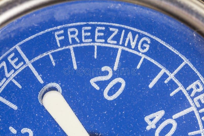 葡萄酒冰箱温度计结冰的区域细节 免版税库存照片