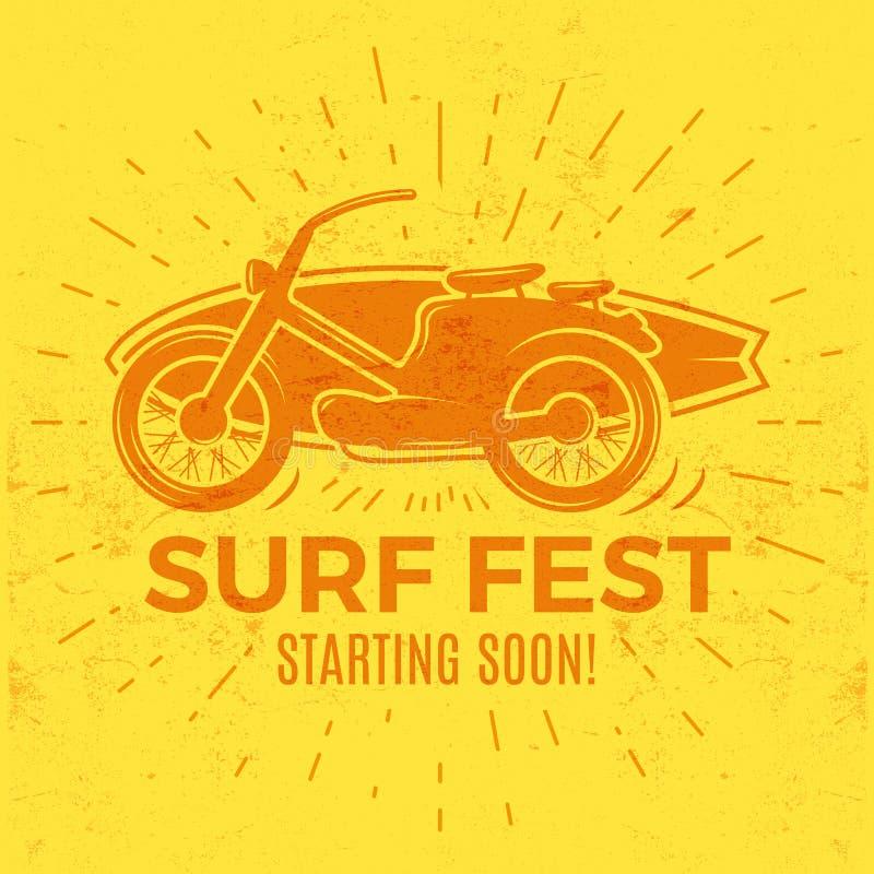 葡萄酒冲浪的发球区域设计 减速火箭的海浪费斯特T恤杉图表和象征网络设计或印刷品的 冲浪者摩托车商标 皇族释放例证
