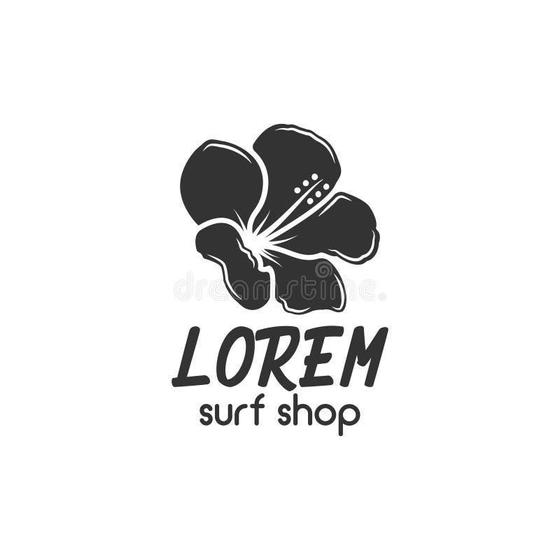 葡萄酒冲浪的商店徽章设计 海浪齿轮网络设计或印刷品的商店象征 减速火箭的花商标设计 海浪 库存例证