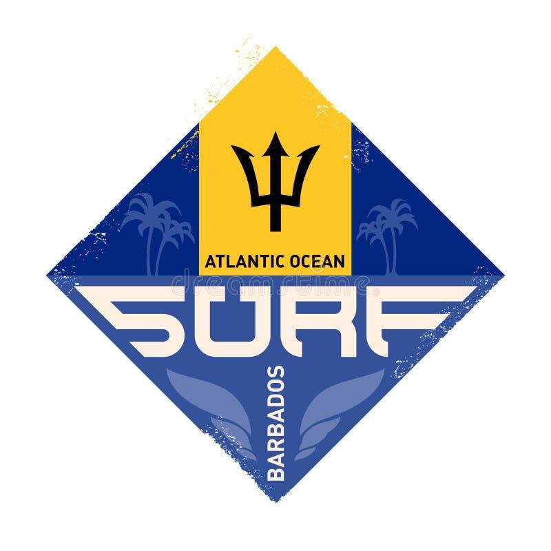 葡萄酒冲浪的商标 导航发球区域或板的w设计模板 向量例证
