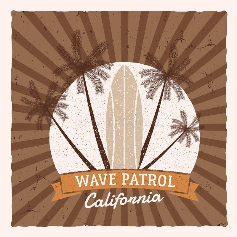 葡萄酒冲浪的图表和海报网络设计或印刷品的 冲浪者,海滩样式商标设计 海浪徽章 冲浪板封印 向量例证
