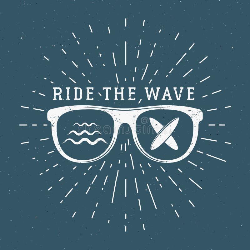 葡萄酒冲浪的图表和象征网络设计或印刷品的 冲浪者,海滩样式商标设计 玻璃海浪徽章 向量例证