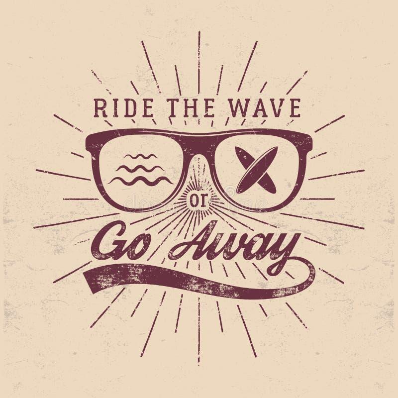 葡萄酒冲浪的图表和象征网络设计或印刷品的 冲浪者,海滩样式商标设计 玻璃海浪徽章 皇族释放例证