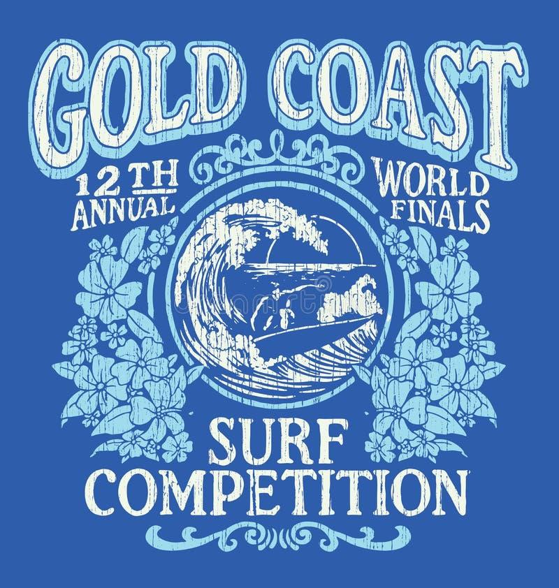 葡萄酒冲浪的T恤杉图形设计 英属黄金海岸海浪竞争 库存例证