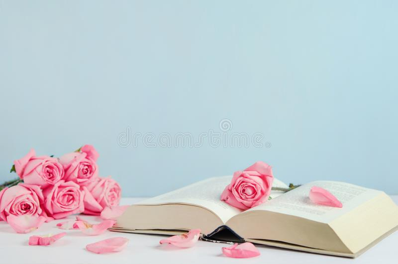 葡萄酒凋枯了与开放书的桃红色柔和的淡色彩玫瑰花 库存图片
