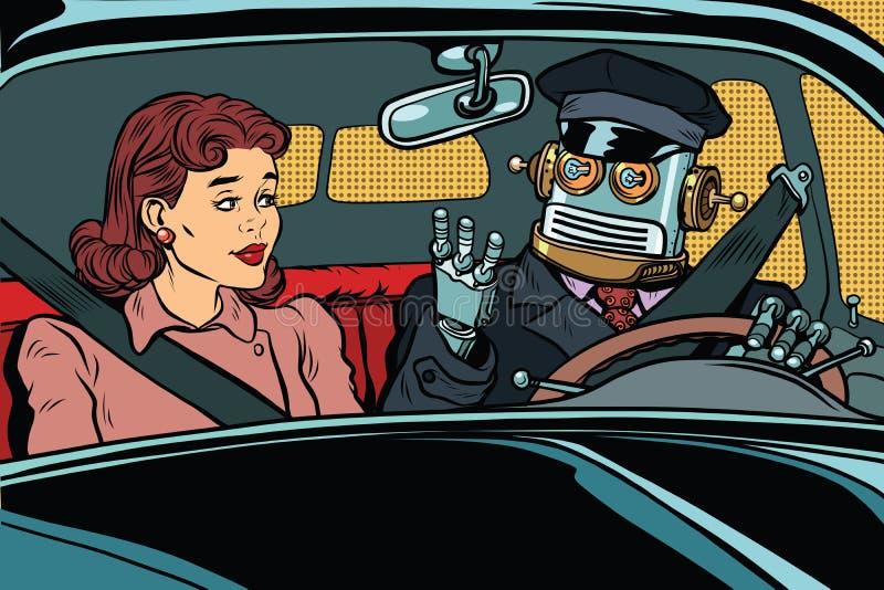 葡萄酒减速火箭的机器人自动驾驶仪汽车,妇女乘客 库存例证