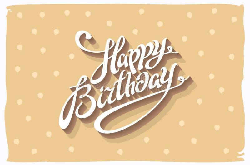 葡萄酒减速火箭的生日快乐卡片,与字体、难看的东西框架和V形臂章无缝的背景 向量 库存例证