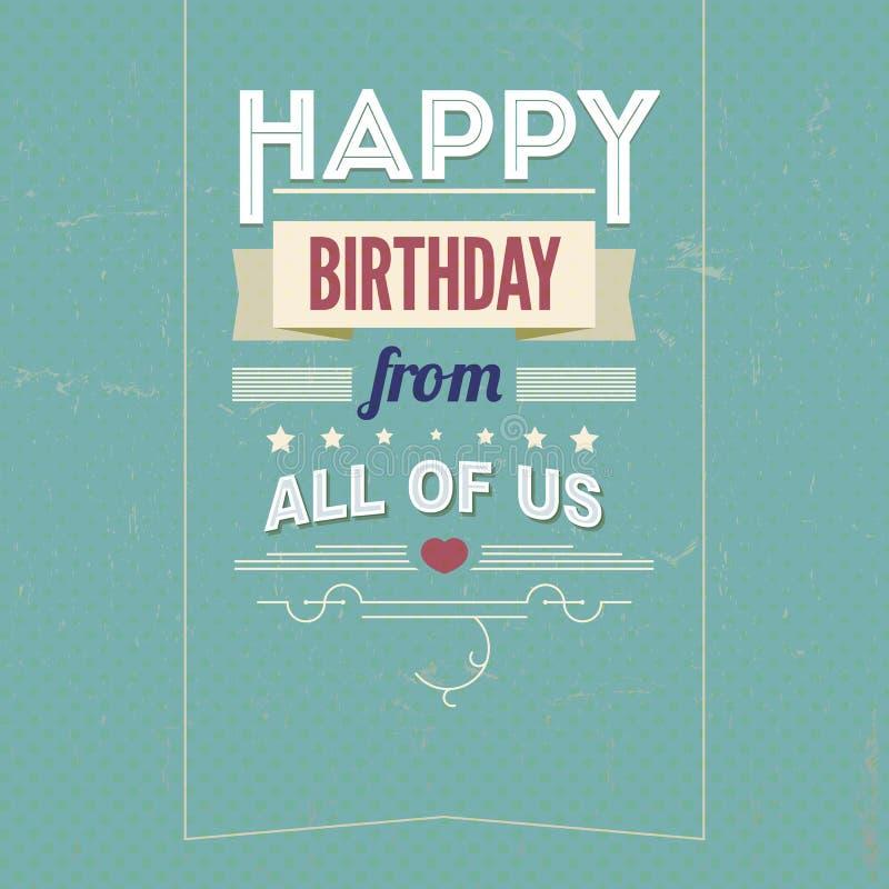 葡萄酒减速火箭的生日快乐卡片,与字体 向量例证