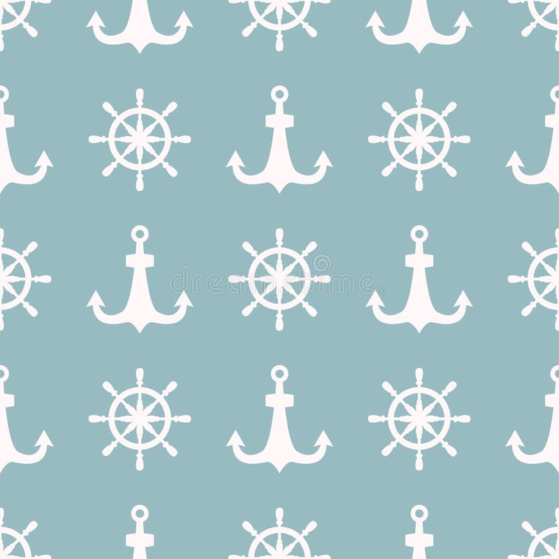 葡萄酒减速火箭的船锚徽章传染媒介无缝的样式海海洋图表船舶定住标志例证 皇族释放例证