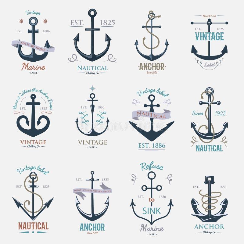 葡萄酒减速火箭的船锚徽章传染媒介标志海海洋图表元素船舶海军例证 库存例证