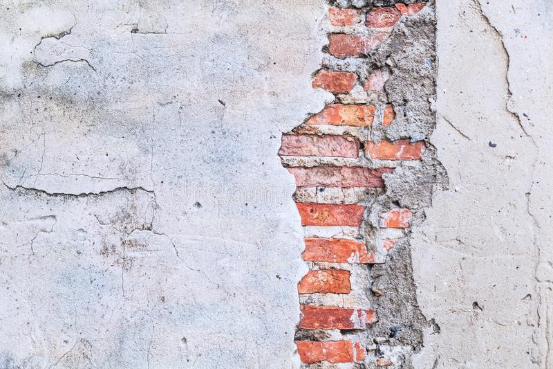 葡萄酒减速火箭的褐色的织地不很细详细的黏土石砖块墙壁 建筑结构家室内设计,房子 图库摄影