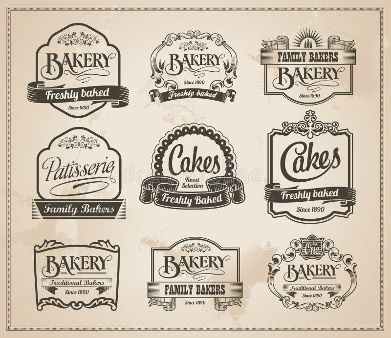 葡萄酒减速火箭的面包店标号组 向量例证