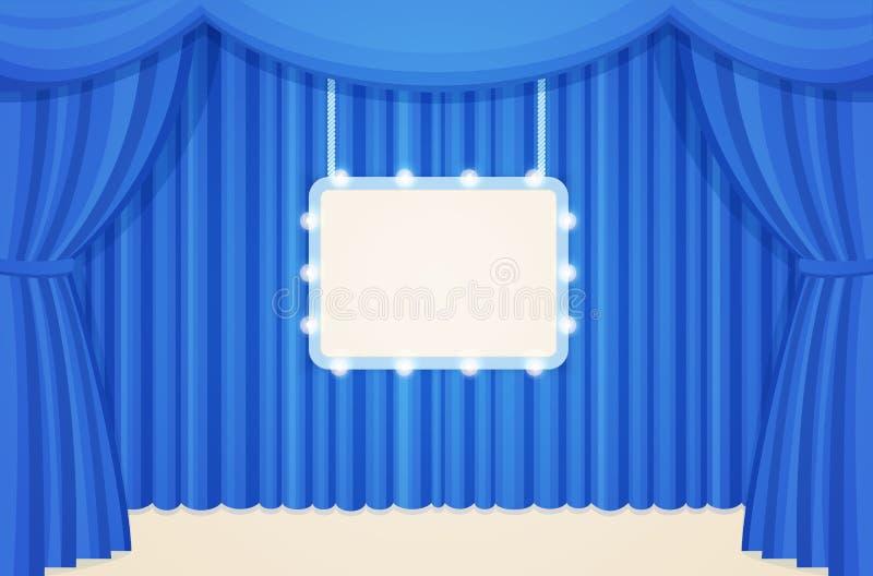葡萄酒剧院或戏院阶段与蓝色帷幕和大门罩电灯泡板 向量例证