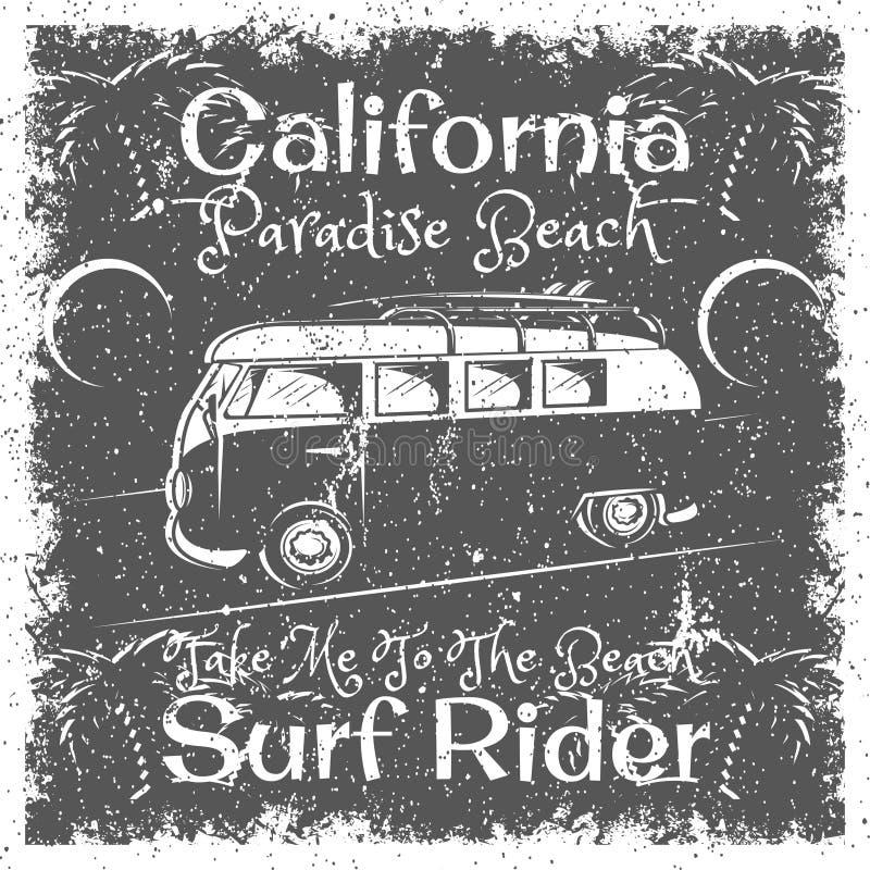 葡萄酒加利福尼亚海滩海报 冲浪印刷品的, T恤杉,发球区域设计车手印刷术 向量例证
