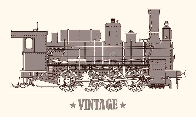 葡萄酒动画片手拉的蒸汽机车火车 也corel凹道例证向量 皇族释放例证