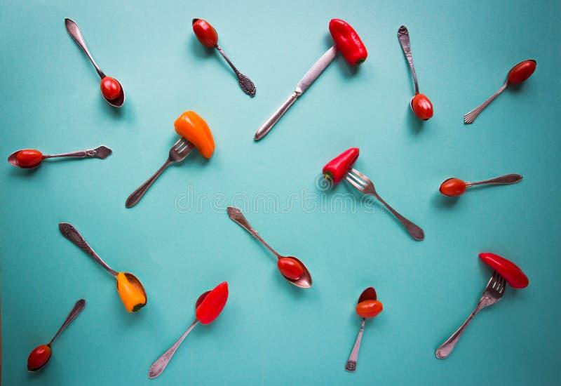 葡萄酒匙子、叉子和刀子用辣椒粉和西红柿在蓝色背景 库存照片