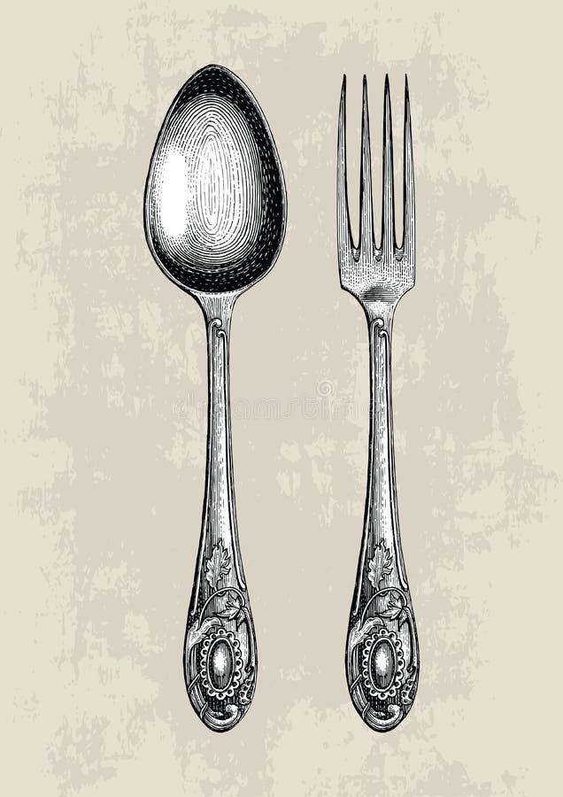 葡萄酒匙子和叉子手图画、匙子和叉子剪影艺术是 皇族释放例证