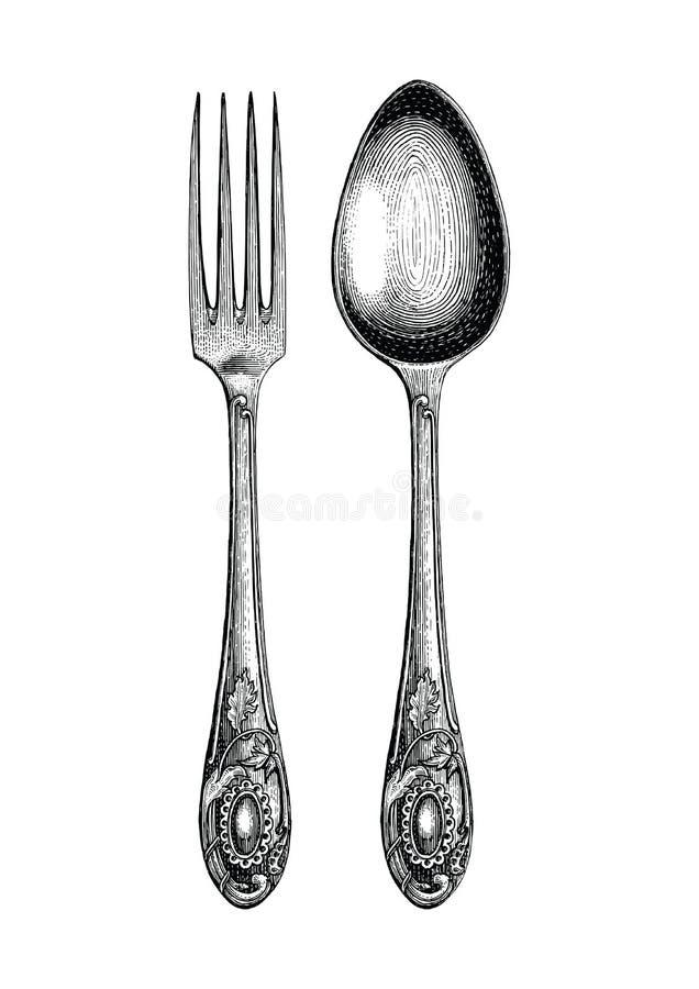 葡萄酒匙子和叉子手图画、匙子和叉子剪影艺术是 向量例证