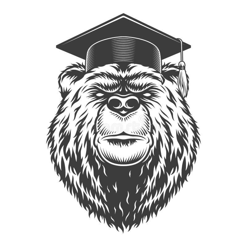葡萄酒单色毕业生熊头 向量例证