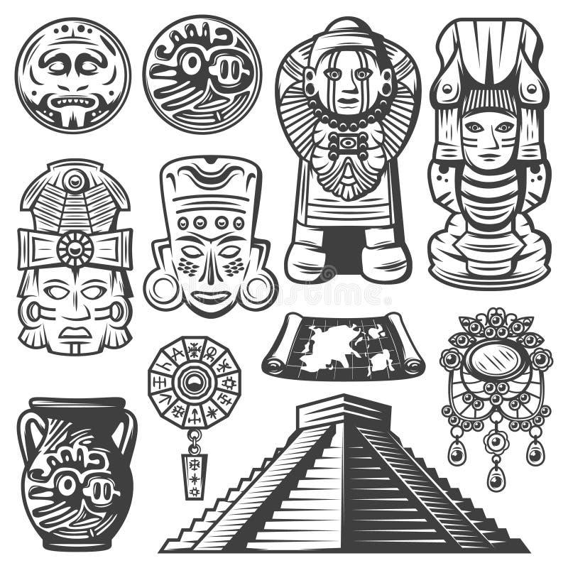 葡萄酒单色玛雅人元素集 皇族释放例证