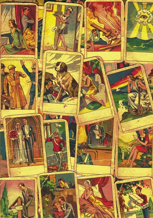 葡萄酒占卜用的纸牌 与其中一张的算命最普遍的隐密占卜用的纸牌 图库摄影