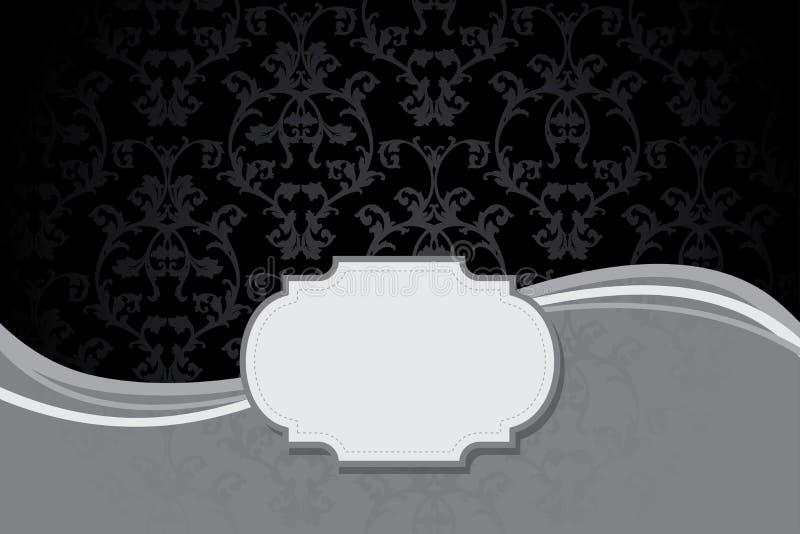 葡萄酒卡片有锦缎无缝的背景 向量例证