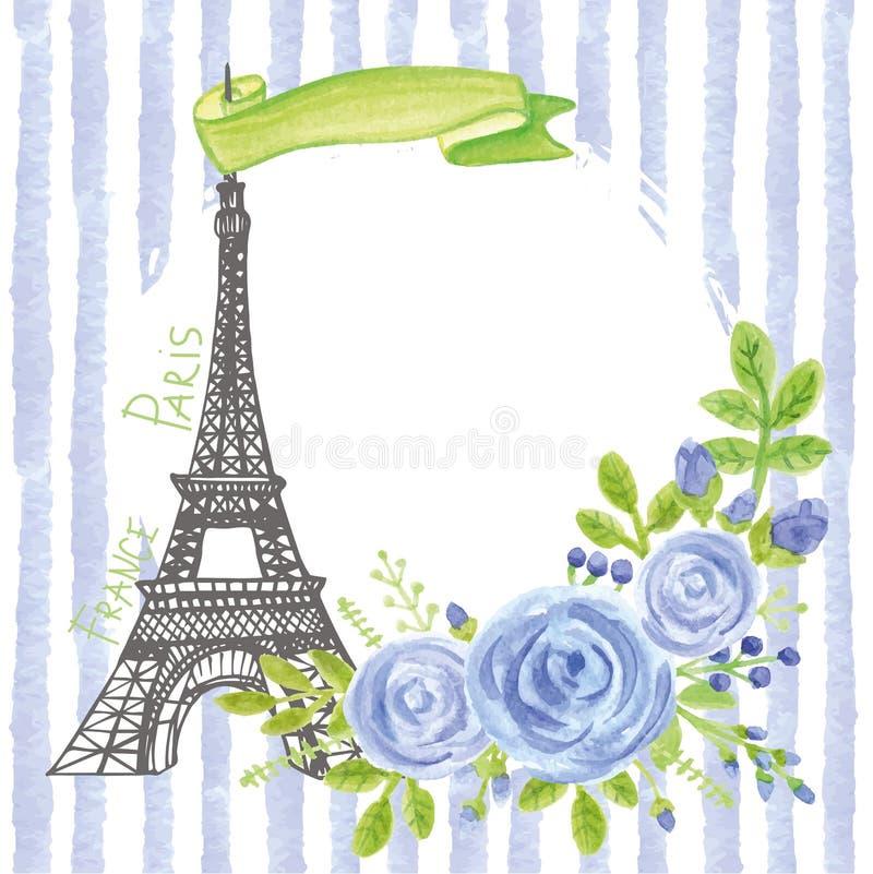 巴黎葡萄酒卡片 埃佛尔铁塔,水彩蓝色玫瑰,小条 库存例证