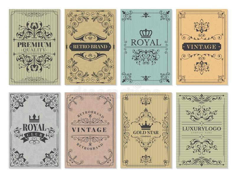 葡萄酒卡片 框架设计西部背景传染媒介模板的土气维多利亚女王时代的减速火箭的老样式装饰品 皇族释放例证