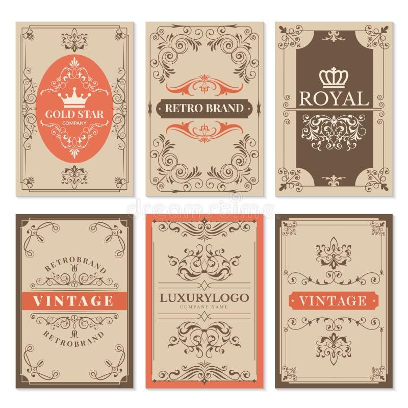 葡萄酒卡片 花卉金银细丝工的经典维多利亚女王时代的装饰品和框架的标签导航设计模板与文本 库存例证