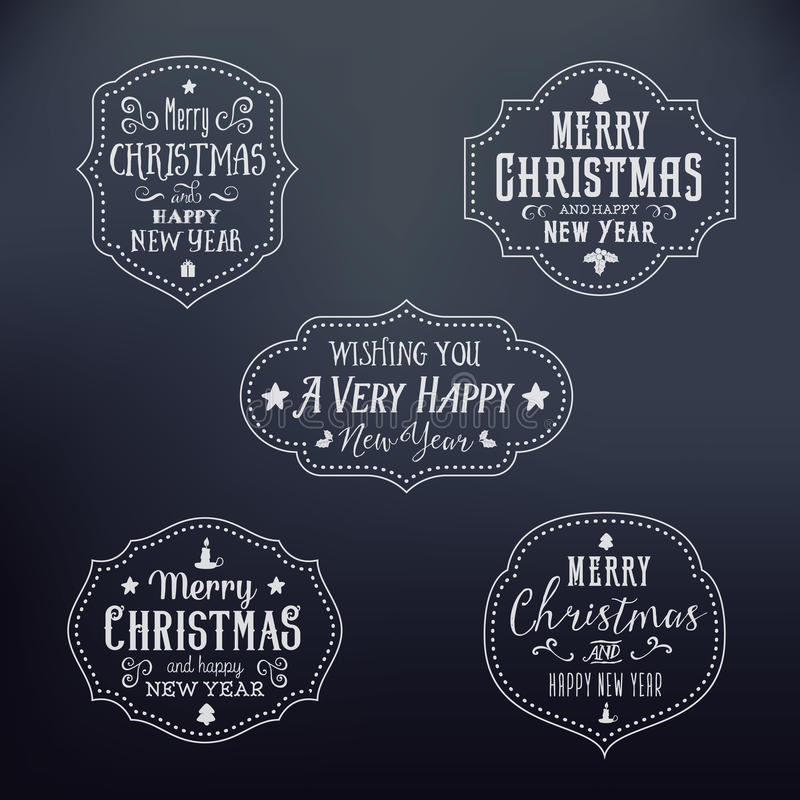 葡萄酒印刷术圣诞节被设置的传染媒介徽章 皇族释放例证