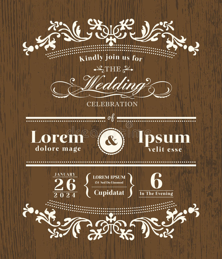 葡萄酒印刷术婚礼邀请设计 库存例证