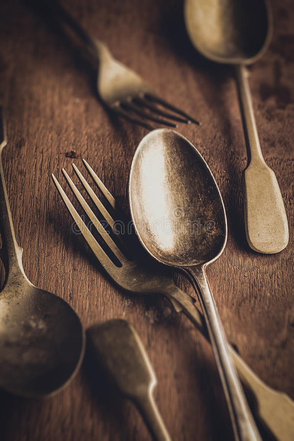 葡萄酒叉子和匙子 免版税图库摄影
