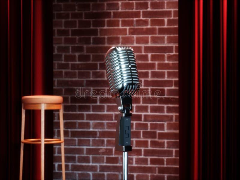 葡萄酒反对红色帷幕的金属话筒在空的剧院阶段 3d回报 向量例证