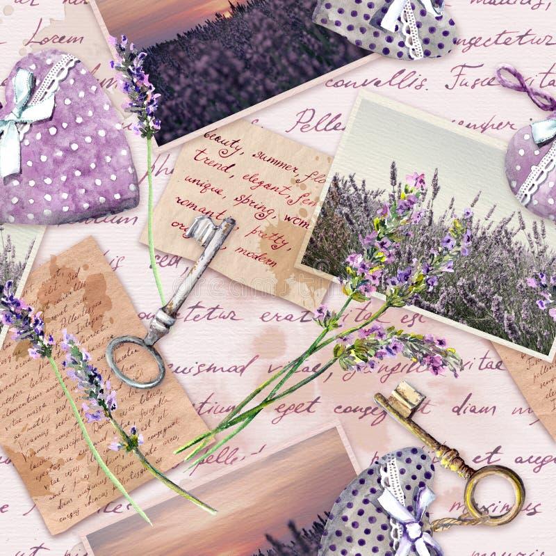 葡萄酒变老了与淡紫色花的纸,手书面信,老钥匙,纺织品心脏 重复背景 库存例证