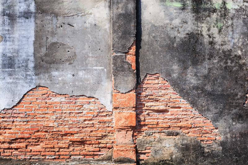 葡萄酒变老了红褐色的颜色被烘烤的建筑织地不很细详细的黏土石砖块墙壁结构室内设计为 免版税库存图片