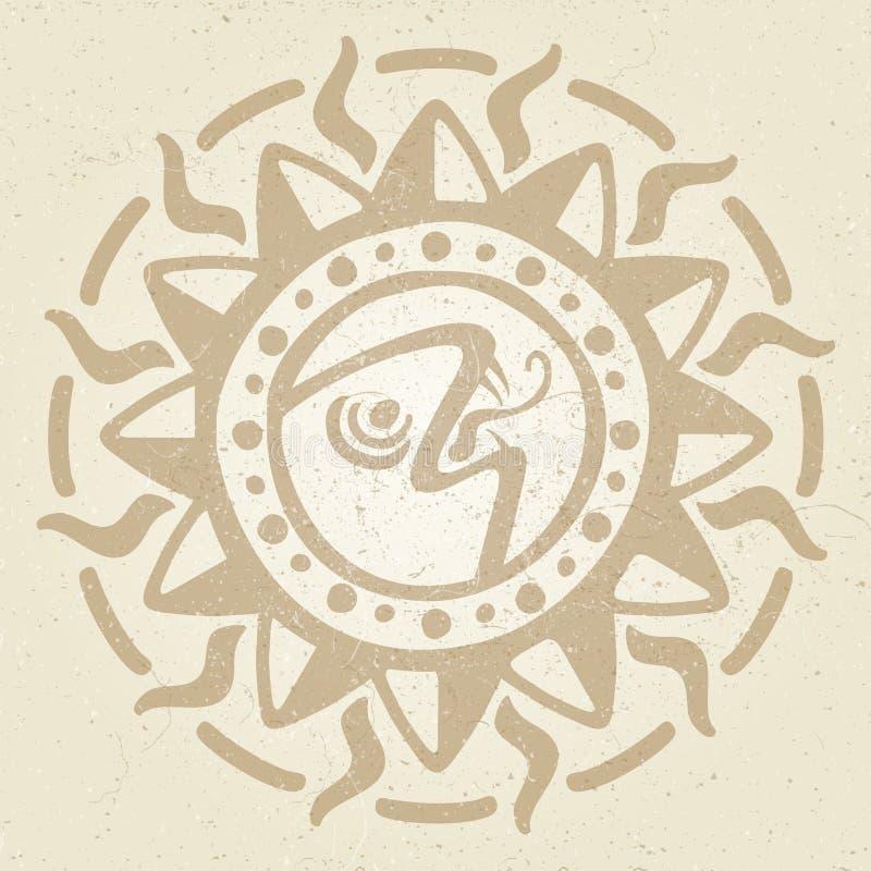 葡萄酒古老墨西哥传染媒介神话标志-阿兹台克人,玛雅文化当地人图腾 库存例证