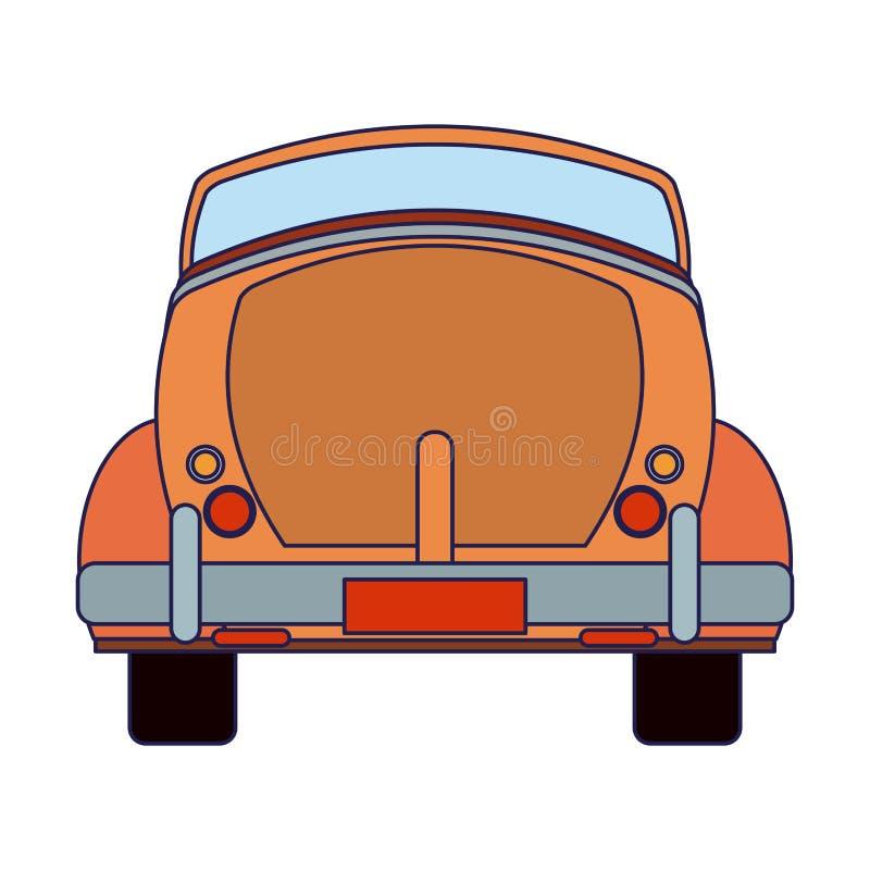 葡萄酒向后汽车敞篷车蓝线 库存例证