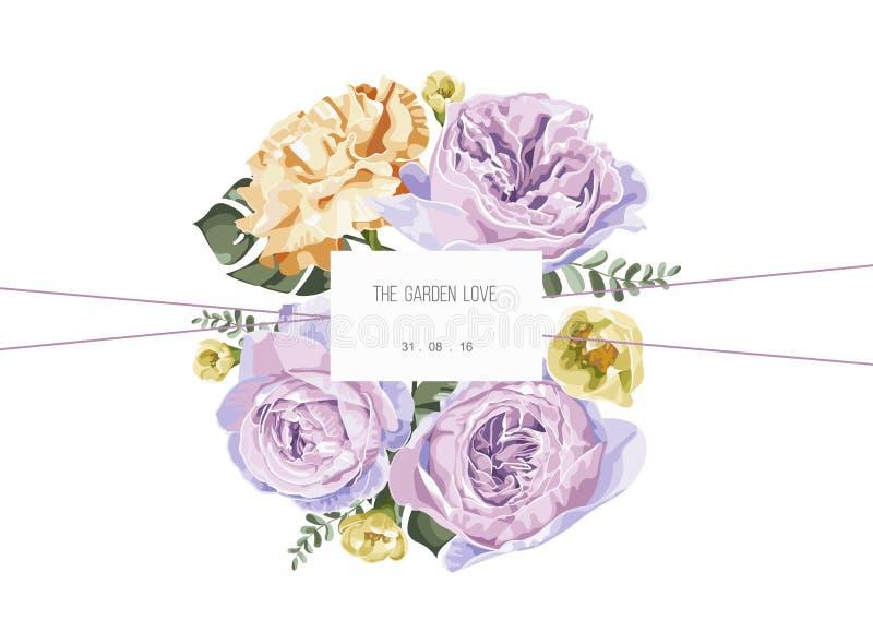 葡萄酒和豪华花卉贺卡与花在庭院里 库存例证