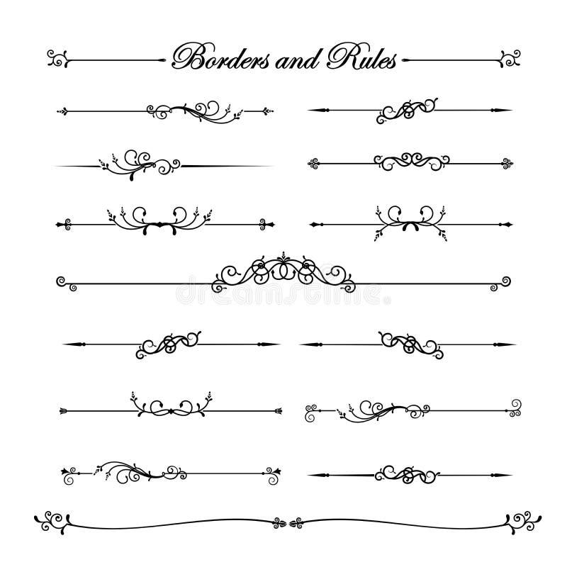 葡萄酒和经典装饰线元borde的汇集 库存例证